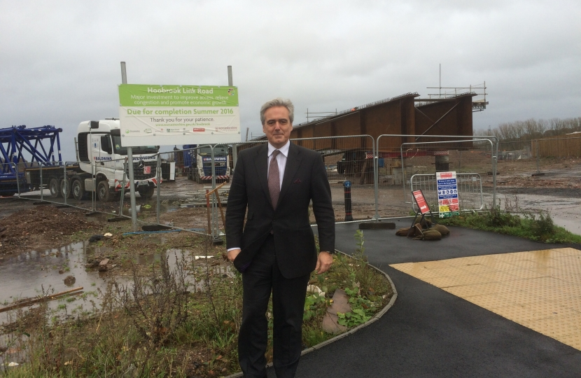 Mark Garnier MP on one of his visits to the Hoobrook link road